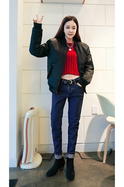 black yubsshop boots - black yubsshop jacket - red yubsshop shirt
