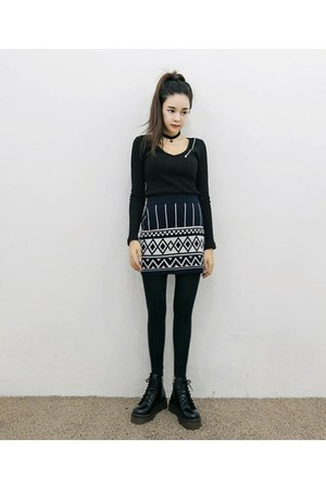 black yubsshop boots - black yubsshop tights - yubsshop skirt