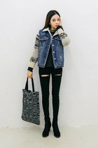 black yubsshop boots - yubsshop jeans - blue yubsshop jacket