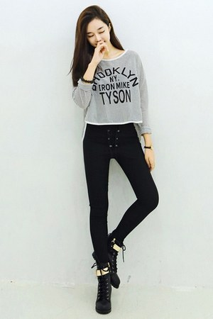 yubsshop boots - black yubsshop pants - heather gray yubsshop top