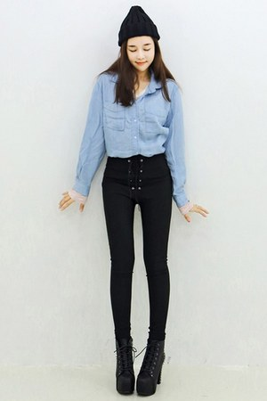 yubsshop boots - black yubsshop hat - sky blue chambray shirt yubsshop shirt