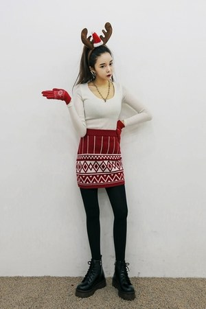 red yubsshop gloves - black yubsshop boots - white yubsshop shirt