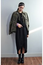 olive green yubsshop jacket - black yubsshop boots - brown yubsshop top