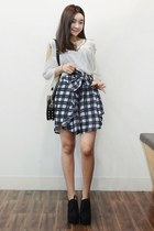 black yubsshop bag - navy yubsshop skirt - yubsshop heels