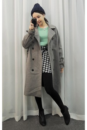 black yubsshop boots - heather gray yubsshop coat - yubsshop hat
