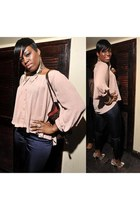 dark brown Louis Vuitton bag - navy H&M pants - beige Steve Madden heels - light