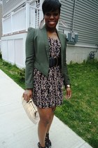 olive green BB Dakota blazer - Forever 21 dress - eggshell thrifted vintage bag