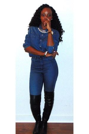 black Zara boots - navy high-waisted H&M jeans - navy denim shirt Gap shirt