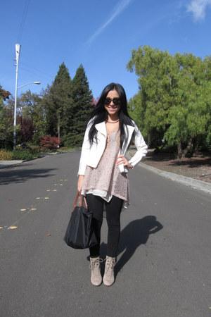 Pour La Victoire shoes - white moto H&M jacket