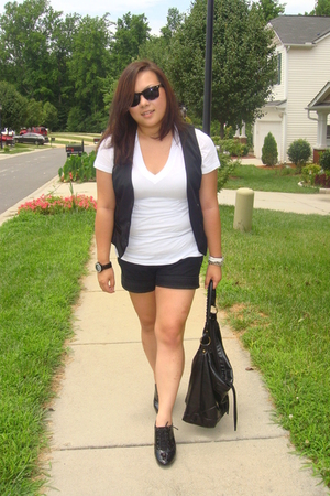 Forever21 top - Wet Seal vest - Old Navy shorts - Fiona shoes