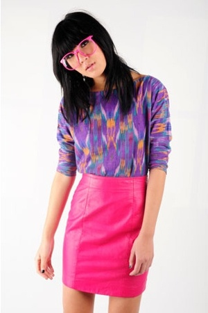 80s hot pink leather skirt shirt