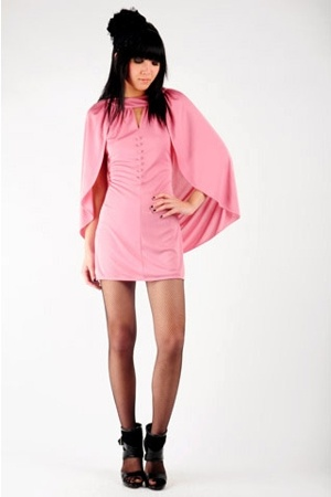avant garde pink minidress with attached cape