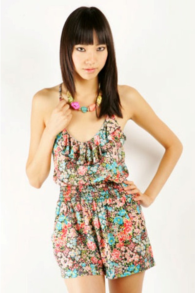 Floral Ruffle Romper - Nectar