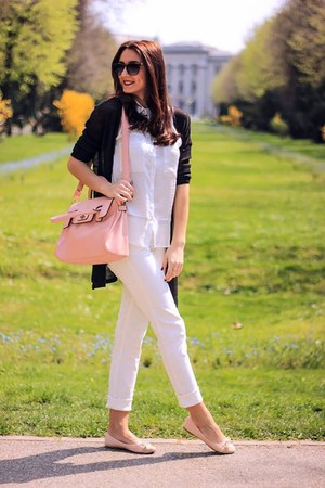 light pink random brand bag - white Bershka shirt - light pink H&M necklace