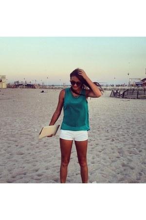 white random brand shorts - turquoise blue random brand top