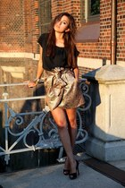 gold Mango skirt - black Zara top - ruby red Christian Louboutin heels