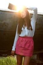hot pink Zara skirt - beige Zara blouse - hot pink Steve Madden heels
