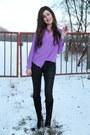 Black-hallhuber-jeans-deep-purple-closed-blouse