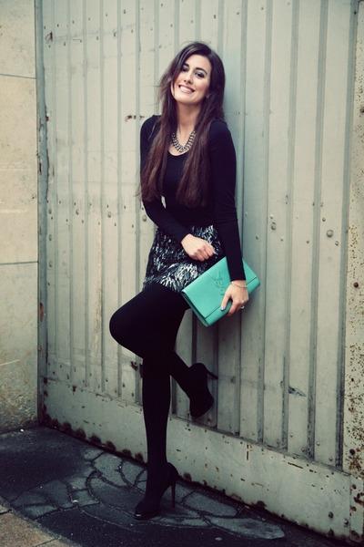 heather gray Zara skirt - aquamarine Yves Saint Laurent bag
