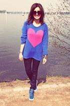 blue headhunter jumper - blue Yves Saint Laurent shoes - black Zara pants