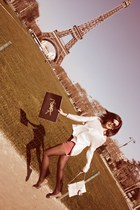 dark khaki lanvin flats - ivory Henri Bendel bag - nude H&M shorts