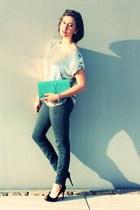 JBrand jeans - Yves Saint Laurent bag - haute hippie top - Christian Louboutin h