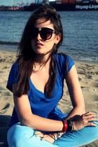sky blue JBrand jeans - blue Zara shirt
