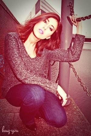 heather gray Zara jumper - navy JBrand jeans - camel pomellato accessories