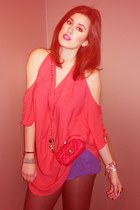 red Chanel bag - salmon haute hippie blouse