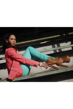 aquamarine Dorothy Perkins jeans - salmon pull&bear blazer - neutral H&M top