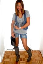 Urban Outfitters shirt - H&M vest - jeans - Zara boots - vintage purse - vintage