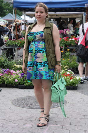teal tribal print Target dress - aquamarine satchel Urban Expressions NYC bag