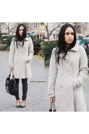 cozy H&M coat - leather bag guess by marciano bag - Zara pumps