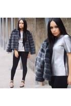 charcoal gray ann taylor jacket - silver BCBG top