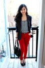 Black-forever-21-blazer-black-coach-bag-red-pants-zig-zag-h-m-top
