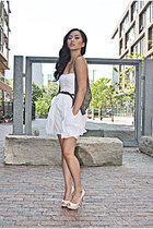 white Zara dress - dark brown Forever 21 vest - cream Aldo pumps