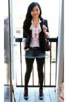 denim H&M shorts - dark brown Zara boots - navy ann taylor blazer