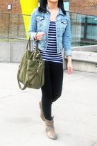 blue H&M jacket - H&M top - garage leggings - Aldo boots - H&M purse