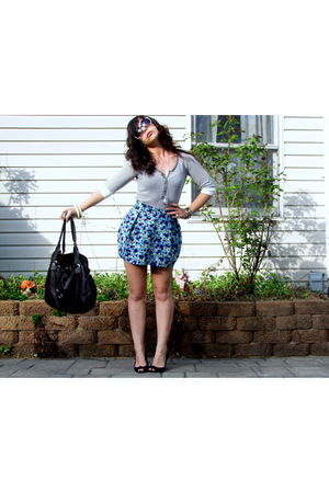 gray Marshalls top - blue H&amp;M skirt - brown Forever 21 purse - black Amerian Eag