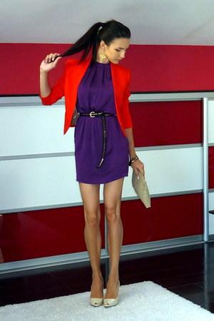 purple Zara dress - carrot orange Zara blazer - beige Zara bag