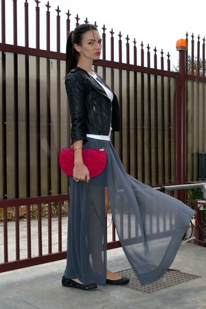 heather gray Zara skirt - black asos jacket - hot pink Zara bag