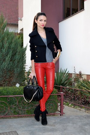 red New Yorker pants - black Zara jacket