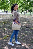 beige Stradivarius bag - plaid Zara shirt