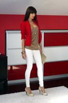 ruby red Zara blazer - ivory BSB pants - camel Zara top
