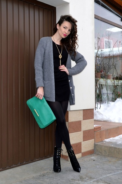 black H&M dress - heather gray Zara cardigan