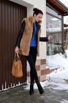 black Zara jacket - bronze Michael Kors bag - blue Massimo Dutti blouse