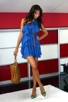 blue H&M dress - tawny Michael Kors bag - green Zara heels