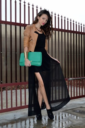 black Zara skirt - tawny BSB jacket - green Zara bag
