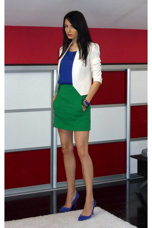white Zara blazer - blue Zara blouse - green Zara skirt