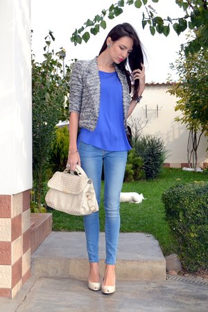 silver Zara blazer - light blue Zara jeans - off white Stradivarius bag